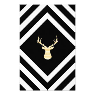 Abstract geometric pattern - beige Deer - black. Stationery