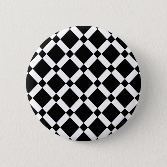 Abstract geometric pattern - black and white. 6 cm round badge