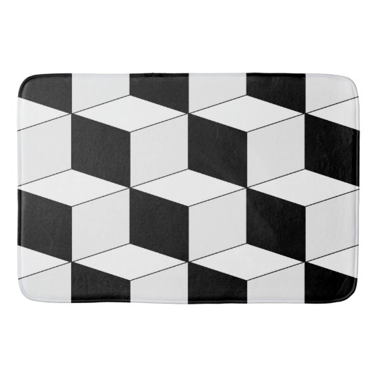 Abstract geometric pattern - black and white. bath mat