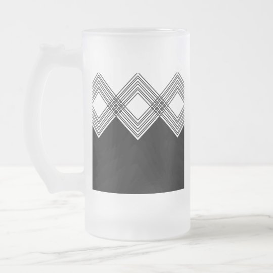 Abstract geometric pattern - black and white. frosted glass beer mug