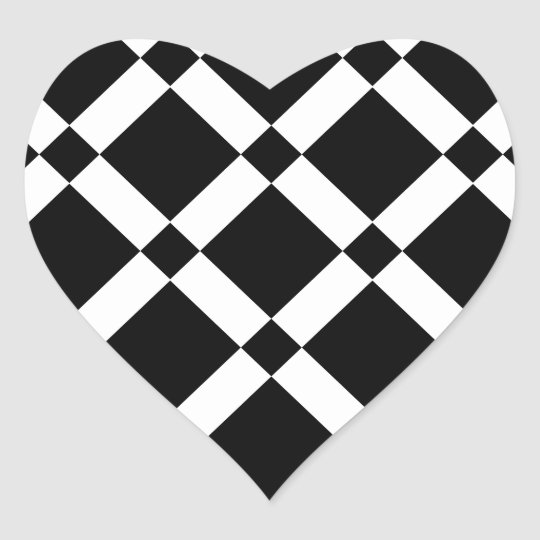 Abstract geometric pattern - black and white. heart sticker