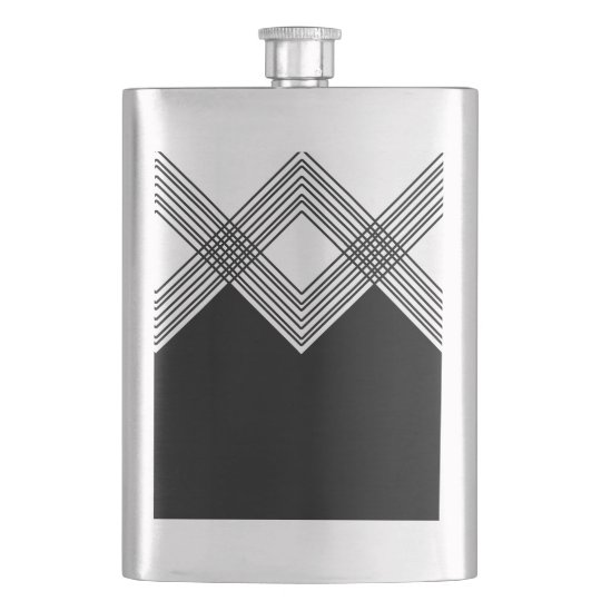 Abstract geometric pattern - black and white. hip flask