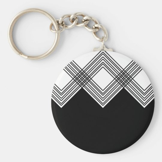 Abstract geometric pattern - black and white. key ring