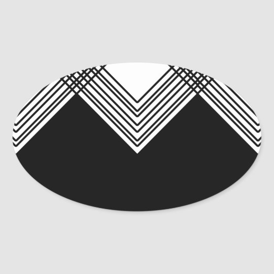 Abstract geometric pattern - black and white. oval sticker