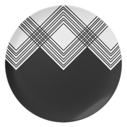 Abstract geometric pattern - black and white. plate
