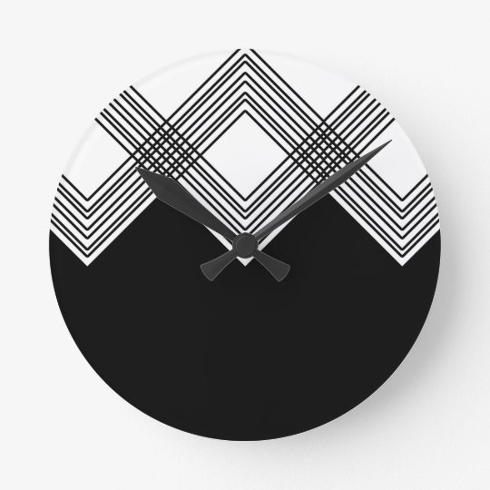 Abstract geometric pattern - black and white. round clock