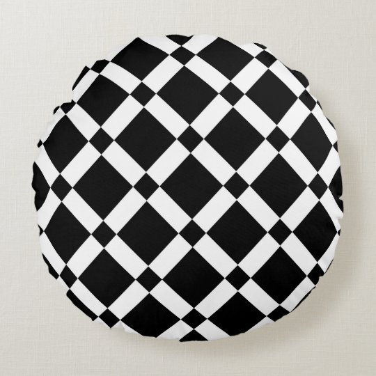 Abstract geometric pattern - black and white. round cushion