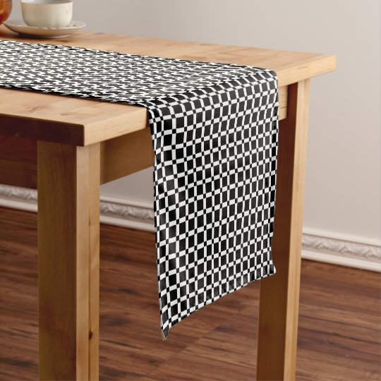 Abstract geometric pattern - black and white. short table runner