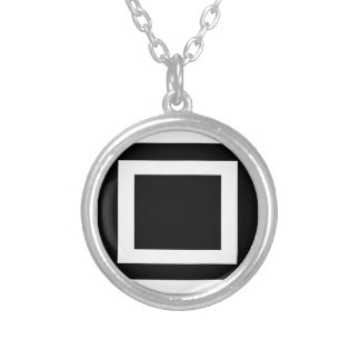 Abstract geometric pattern - black and white. silver plated necklace