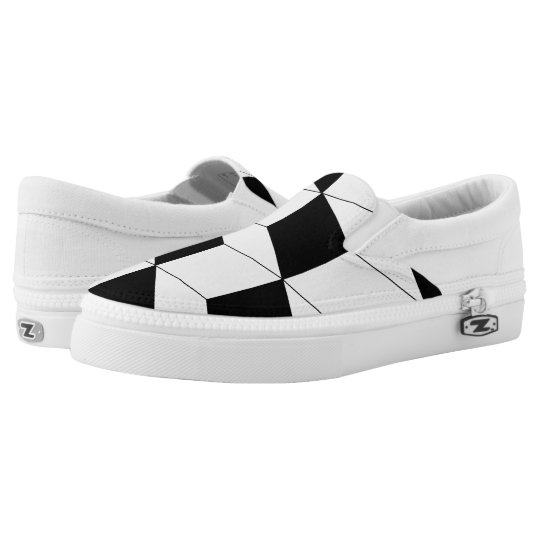 Abstract geometric pattern - black and white. slip on shoes