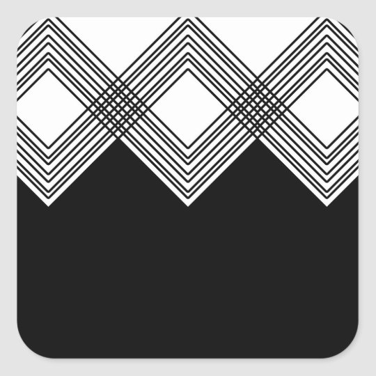 Abstract geometric pattern - black and white. square sticker