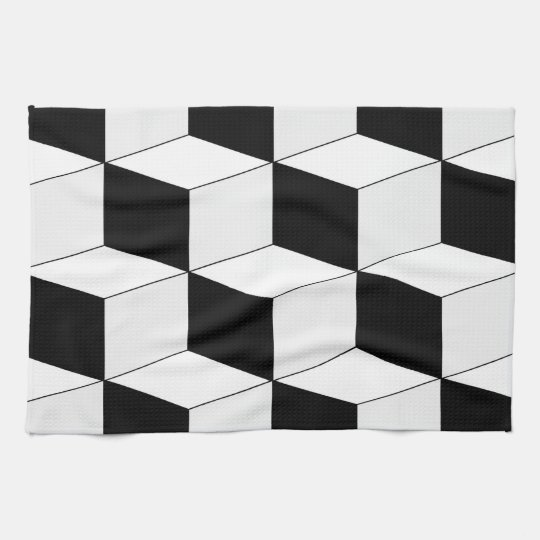 Abstract geometric pattern - black and white. tea towel