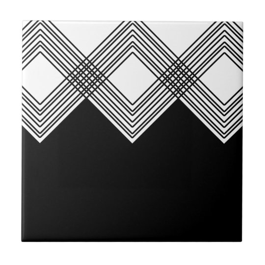 Abstract geometric pattern - black and white. tile