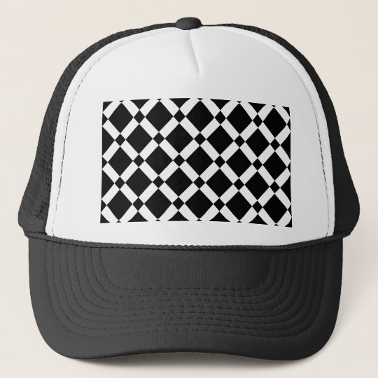 Abstract geometric pattern - black and white. trucker hat