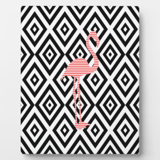 Abstract geometric pattern - black - pink flamingo plaque