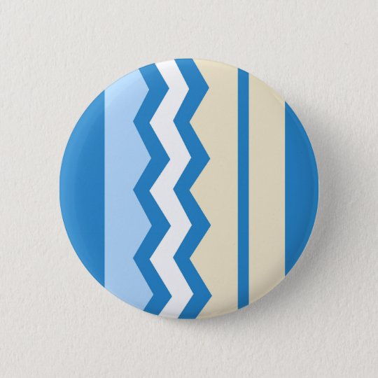Abstract geometric pattern - blue and white. 6 cm round badge