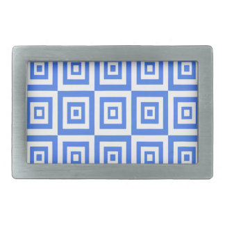 Abstract geometric pattern - blue and white. belt buckles