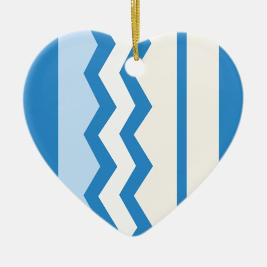 Abstract geometric pattern - blue and white. ceramic ornament