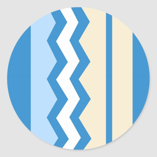 Abstract geometric pattern - blue and white. classic round sticker