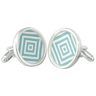 Abstract geometric pattern - blue and white. cuff links