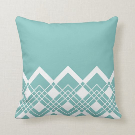 Abstract geometric pattern - blue and white. cushion