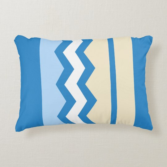 Abstract geometric pattern - blue and white. decorative cushion