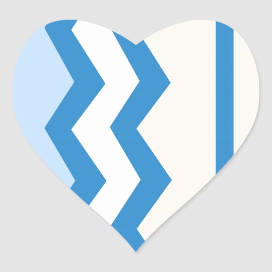 Abstract geometric pattern - blue and white. heart sticker