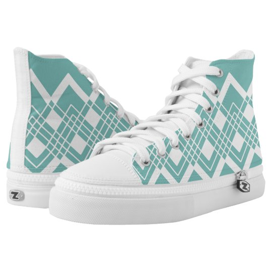 Abstract geometric pattern - blue and white. high tops