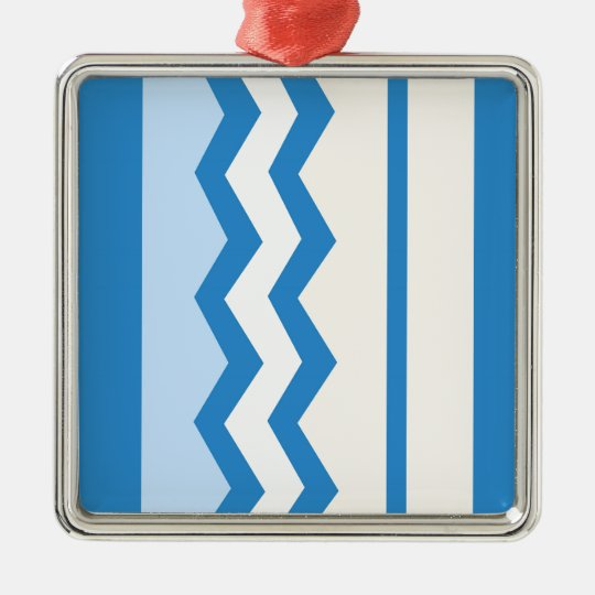 Abstract geometric pattern - blue and white. metal ornament