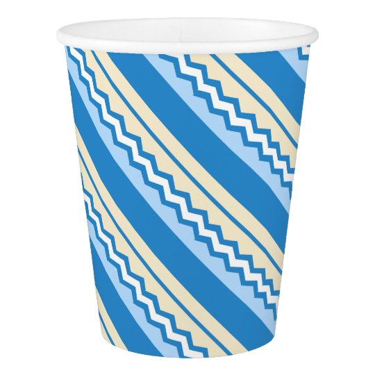Abstract geometric pattern - blue and white. paper cup