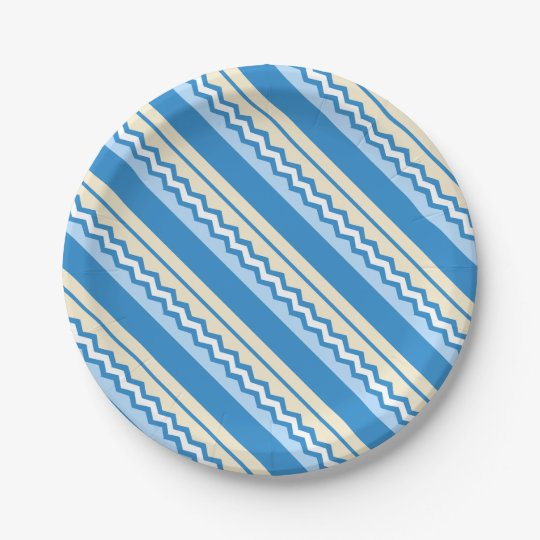 Abstract geometric pattern - blue and white. paper plate