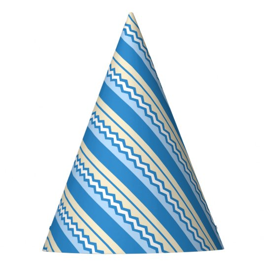Abstract geometric pattern - blue and white. party hat