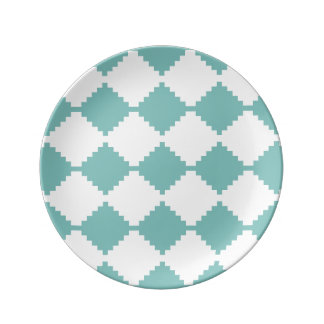 Abstract geometric pattern - blue and white. plate