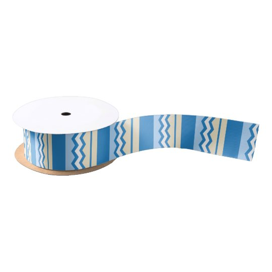 Abstract geometric pattern - blue and white. satin ribbon