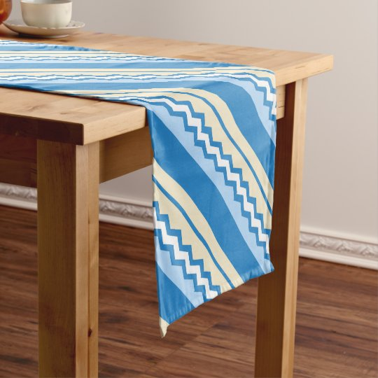 Abstract geometric pattern - blue and white. short table runner