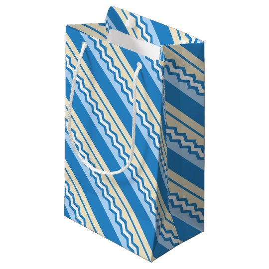 Abstract geometric pattern - blue and white. small gift bag