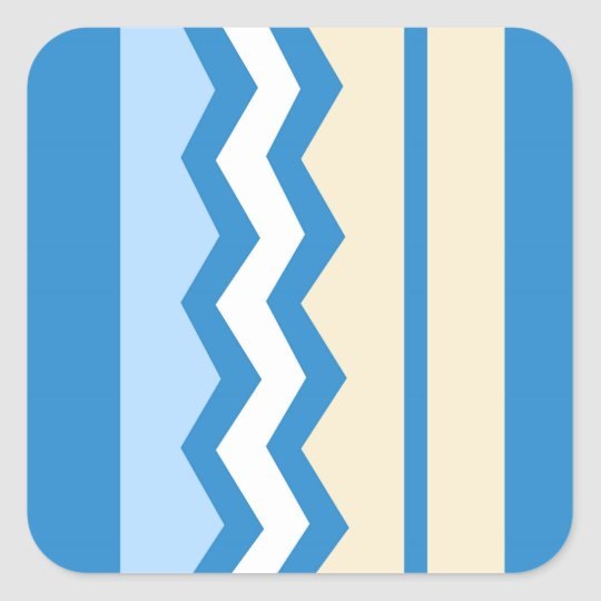Abstract geometric pattern - blue and white. square sticker