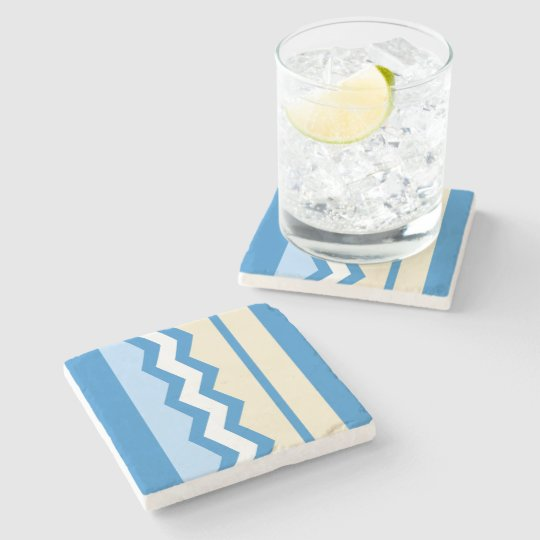 Abstract geometric pattern - blue and white. stone coaster