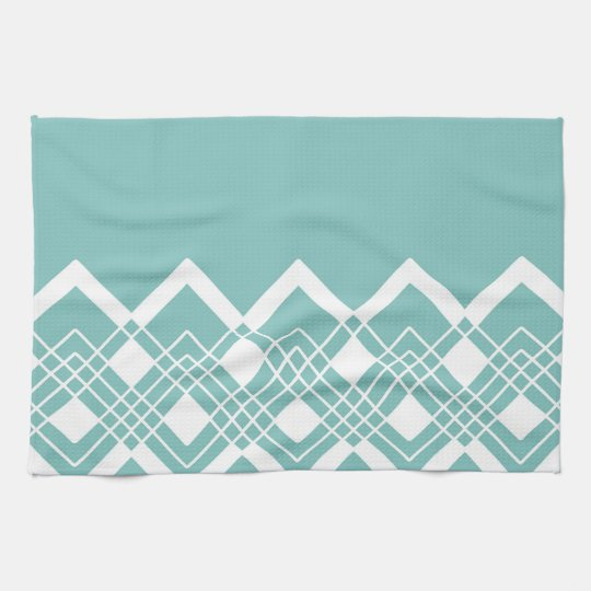 Abstract geometric pattern - blue and white. tea towel