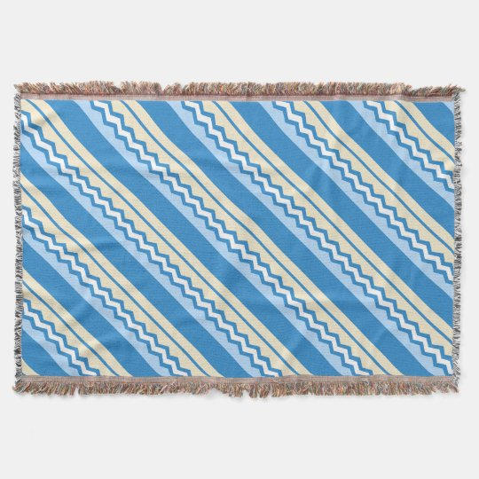 Abstract geometric pattern - blue and white. throw blanket
