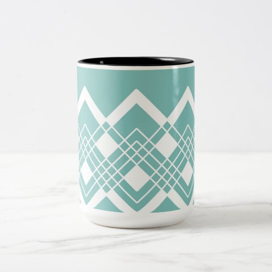 Abstract geometric pattern - blue and white. Two-Tone coffee mug