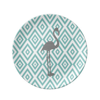 Abstract geometric pattern - blue - flamingo plate