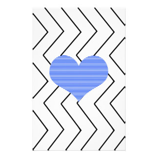 Abstract geometric pattern - blue heart - zigzag stationery