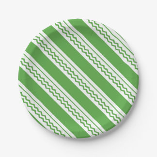 Abstract geometric pattern - green and white. paper plate