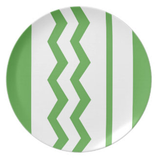 Abstract geometric pattern - green and white. plate