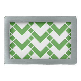 Abstract geometric pattern - green and white. rectangular belt buckle