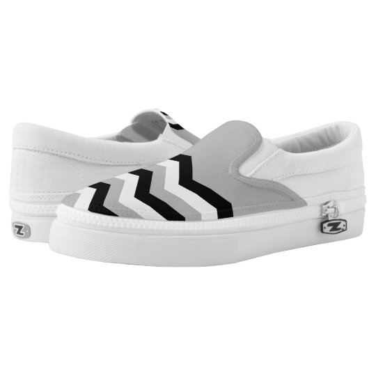 Abstract geometric pattern - grey,black and white. slip on shoes