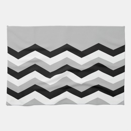 Abstract geometric pattern - grey,black and white. tea towel