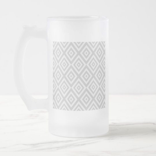 Abstract geometric pattern - grey. frosted glass beer mug