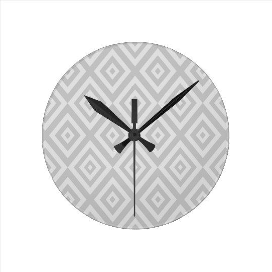 Abstract geometric pattern - grey. round clock